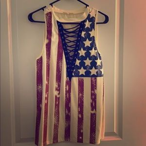 American Flag Tank with open lace-up front